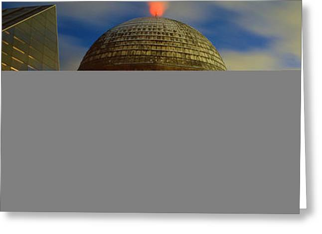 Planetarium Greeting Cards - Museum Lit Up At Dusk, Adler Greeting Card by Panoramic Images