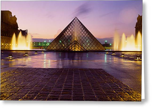 Pyramids Greeting Cards - Museum Lit Up At Night With Ghosted Greeting Card by Panoramic Images