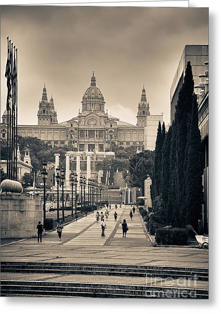 Best Sellers -  - Overcast Day Greeting Cards - Museum Palau Nacional dArt de Catalunya Greeting Card by Gabriela Insuratelu