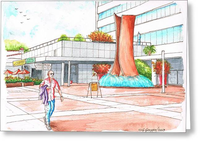 Museum Square In Wlshire Blvd Miracle Mile - Los Angeles - California Greeting Card by Carlos G Groppa