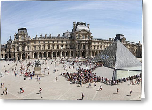 Pyramids Greeting Cards - Museum With Glass Pyramid, Musee Du Greeting Card by Panoramic Images