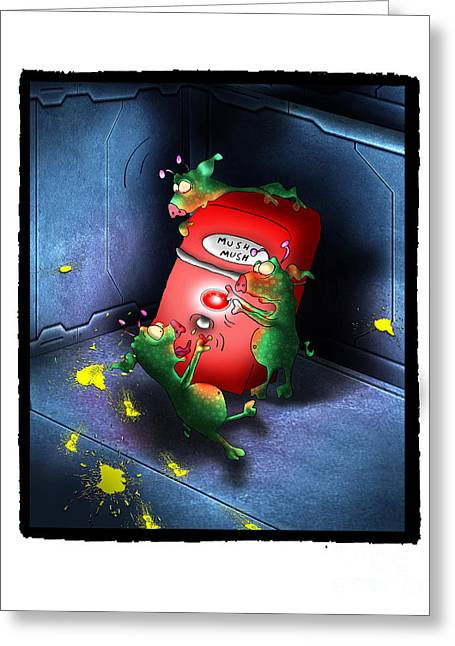 Space Themed Nursery Greeting Cards - MushMess Alien Pigs Greeting Card by Star  Mudersbach