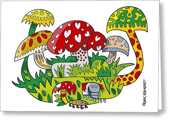 Mushroom Doodle Nature Greeting Card by Frank Ramspott