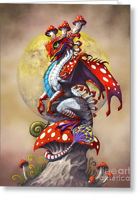 Mushroom Dragon Greeting Card by Stanley Morrison