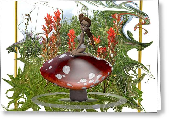 Fungi Mixed Media Greeting Cards - Mushroom Fairy Greeting Card by Jennifer Schwab
