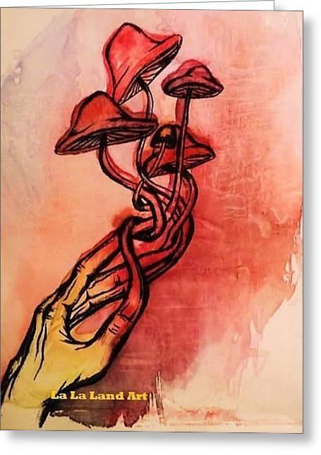Mushroom Hand Greeting Card by Amber Hepting