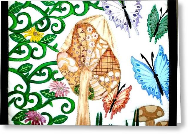 Mushroom Hunt Greeting Card by Linda Egland