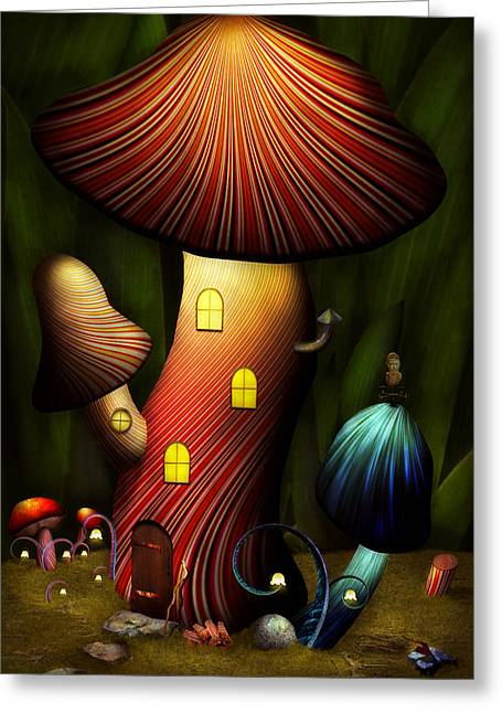 Nature Scene Art Digital Art Greeting Cards - Mushroom - Magic Mushroom Greeting Card by Mike Savad