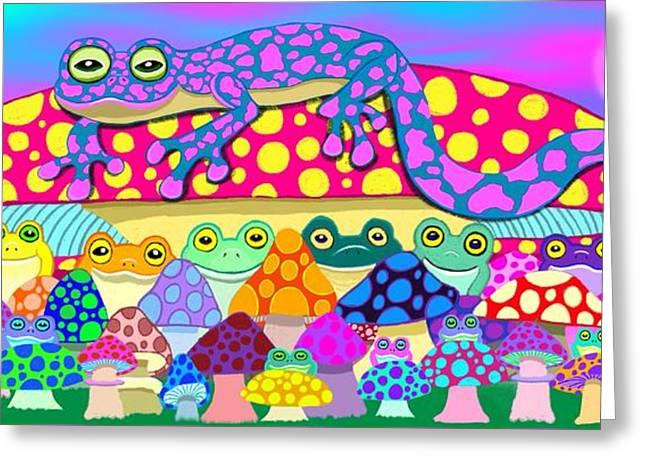 Salamander Greeting Cards - Mushroom Meadow Frogs Greeting Card by Nick Gustafson