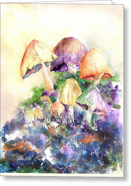 Fungi Paintings Greeting Cards - Mushroom Party Greeting Card by Bette Orr