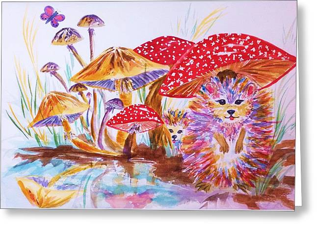 Fungi Paintings Greeting Cards - Mushrooms and Hedgehogs Greeting Card by Ellen Levinson