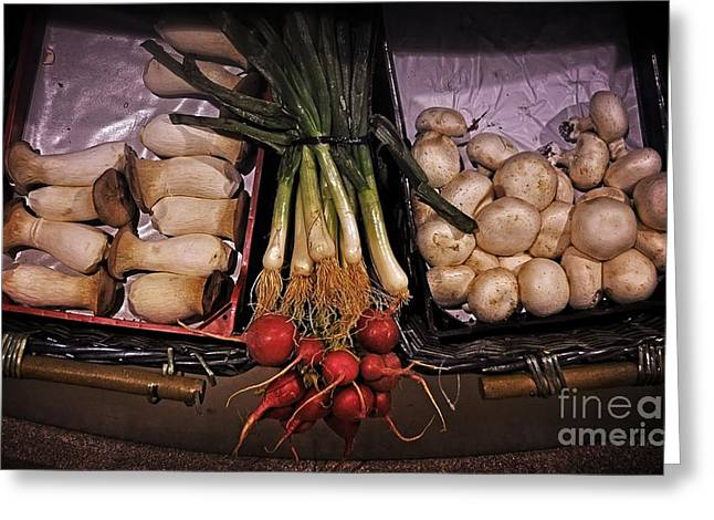 Fresh Produce Greeting Cards - Mushrooms in the Seville Market  Greeting Card by Mary Machare