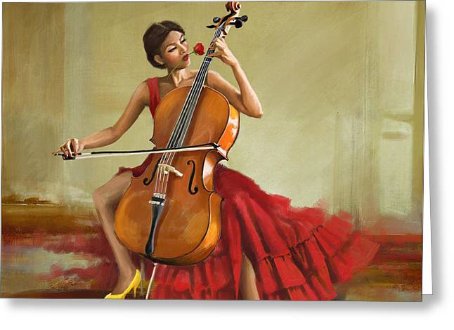 Music And Beauty Greeting Card by Corporate Art Task Force
