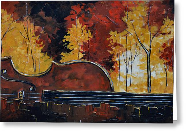 Autumn Landscape Mixed Media Greeting Cards - Music and Nature Greeting Card by Vickie Warner