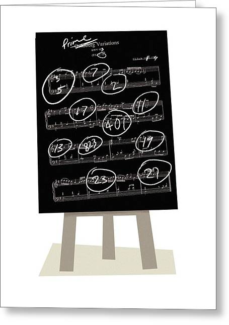 Calculating Greeting Cards - Music and prime numbers, artwork Greeting Card by Science Photo Library