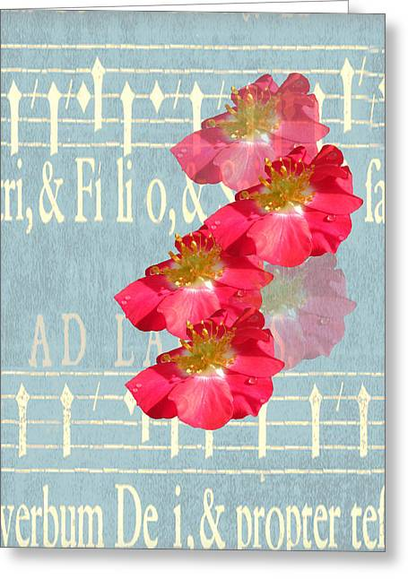 Rosalie Scanlon Greeting Cards - Music and Roses Greeting Card by Rosalie Scanlon