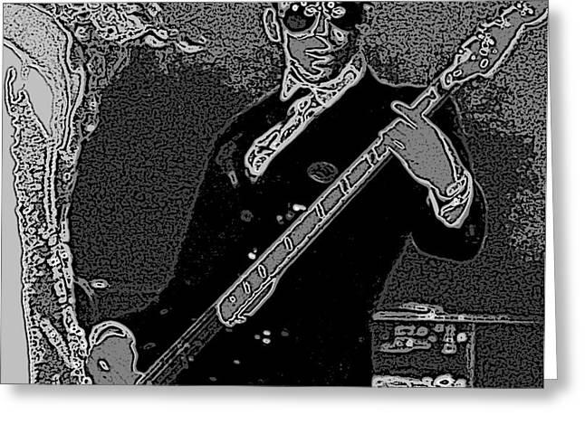 Bass Player Art Bw Greeting Card by Lesa Fine