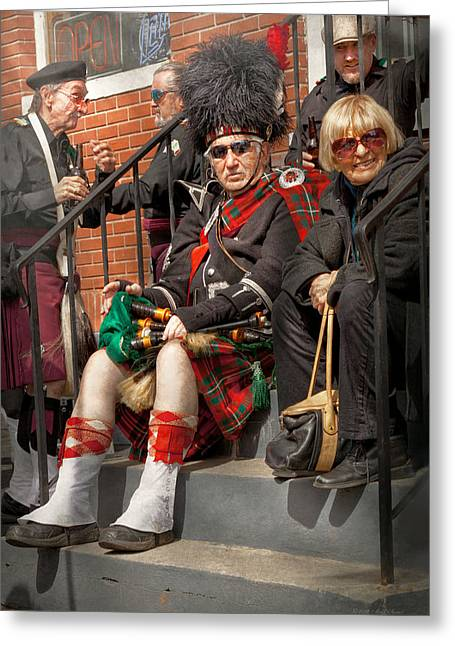 Spats Greeting Cards - Music - Bag Pipes - Somerville NJ - Piper resting Greeting Card by Mike Savad