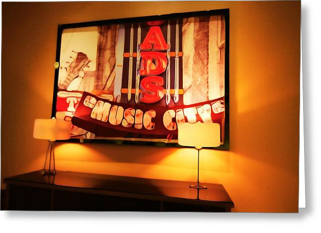 Fame Mixed Media Greeting Cards - Music City Lights Greeting Card by Dan Sproul