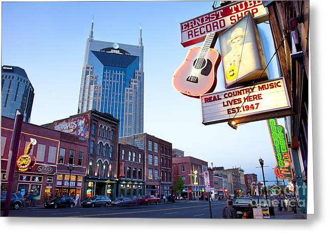 Batman Greeting Cards - Music City USA Greeting Card by Brian Jannsen