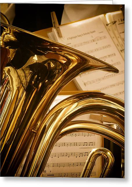 Trumpeter Silhouette Greeting Cards - Music Greeting Card by Claire Hull