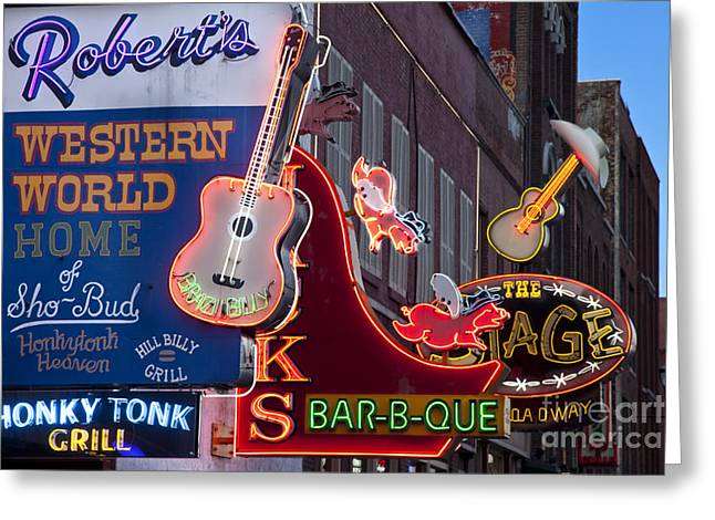 Nashville Tennessee Greeting Cards - Music Clubs Nashville Greeting Card by Brian Jannsen