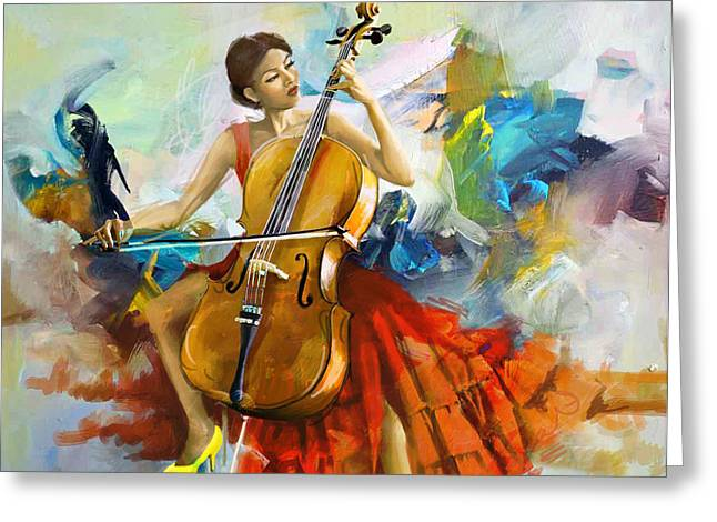 Expressionist Girl Greeting Cards - Music Colors and Beauty Greeting Card by Corporate Art Task Force