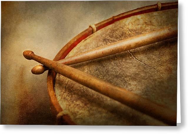 Music - Drum - Cadence  Greeting Card by Mike Savad