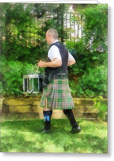 Music - Drummer In Pipe Band Greeting Card by Susan Savad