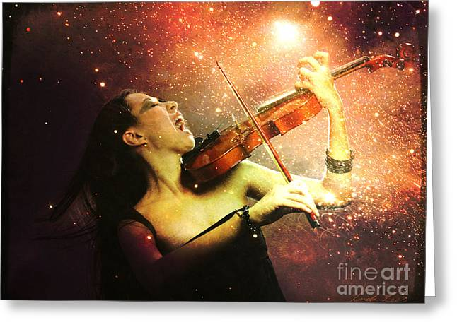 Lindalees Greeting Cards - Music explodes in the night Greeting Card by Linda Lees