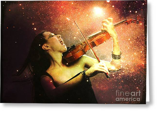 Music Explodes In The Night Greeting Card by Linda Lees