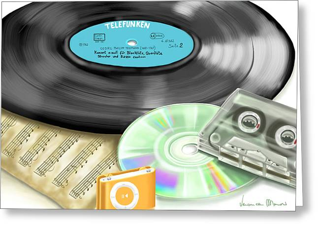 Music Ipod Greeting Cards - Music history Greeting Card by Veronica Minozzi