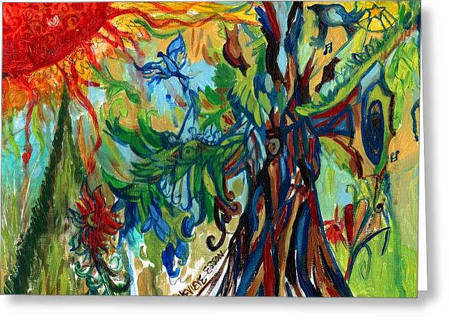Stl Greeting Cards - Music In Bird Of Tree Greeting Card by Genevieve Esson