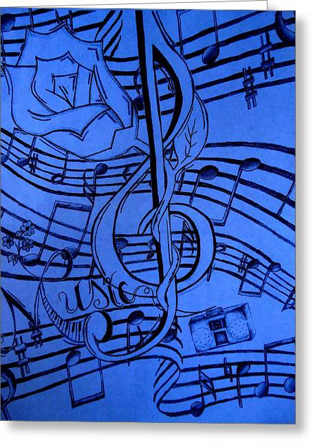 Music In Blue Greeting Card by Madelyn May