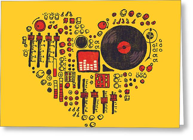 Vinyl Greeting Cards - Music in every hearbeat Greeting Card by Budi Kwan