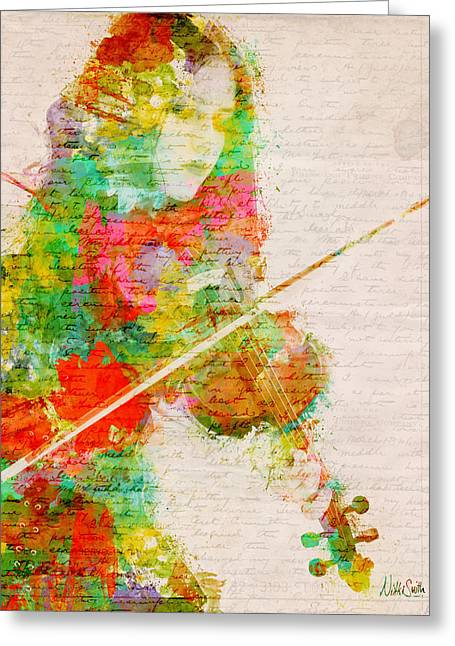 Water Color Greeting Cards - Music In My Soul Greeting Card by Nikki Smith