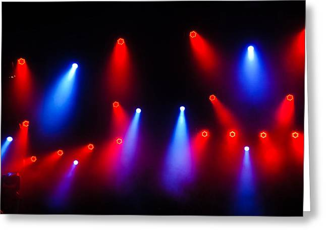 Limelight Greeting Cards - Music in Red and Blue - the Wonderful Sound of Nightlife Greeting Card by Georgia Mizuleva