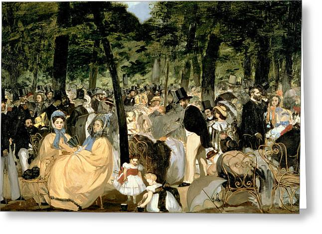 The Tuileries Gardens Greeting Cards - Music In The Tuileries Gardens Greeting Card by Celestial Images