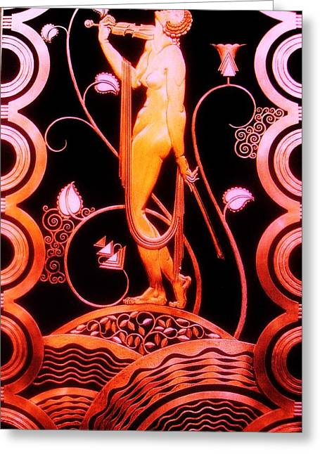 Posters On Sculptures Greeting Cards - MUSIC INSPIRATION  -  Art Deco Greeting Card by Gunter  Hortz