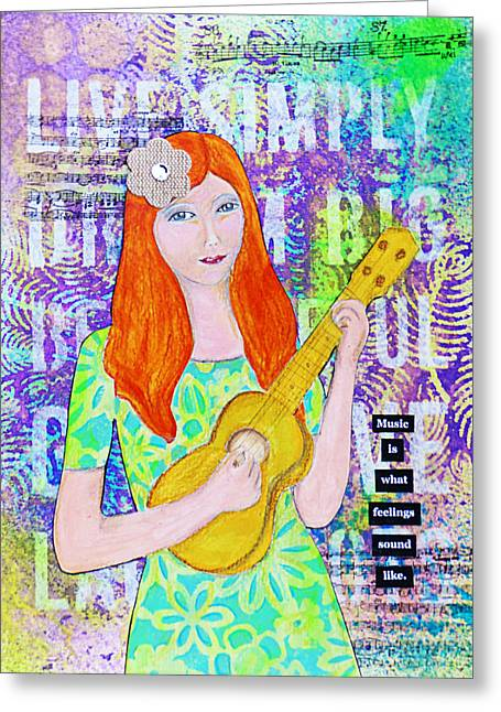 Ukelele Greeting Cards - Music is Greeting Card by Lynn Colwell