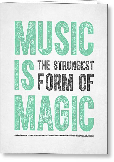 Playing Music Greeting Cards - Music is Magic Greeting Card by Aged Pixel