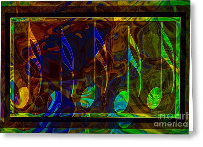 Owfotografik Mixed Media Greeting Cards - Music is Magical Abstract Healing Art Greeting Card by Omaste Witkowski