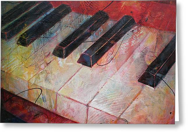 String Instrument Greeting Cards - Music is the Key - Painting of a Keyboard Greeting Card by Susanne Clark