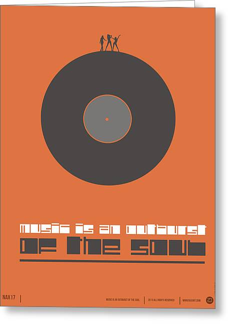 Humor Greeting Cards - Music is the Soul Poster Greeting Card by Naxart Studio