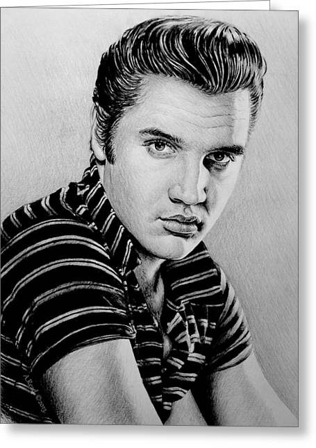 Love Me Tender Greeting Cards - Music Legends Elvis Greeting Card by Andrew Read