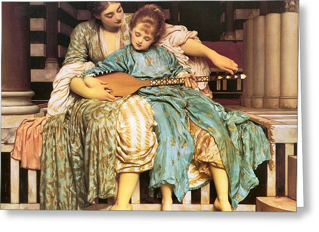 Frederick Digital Greeting Cards - Music Lesson Greeting Card by Lord Frederick Leighton