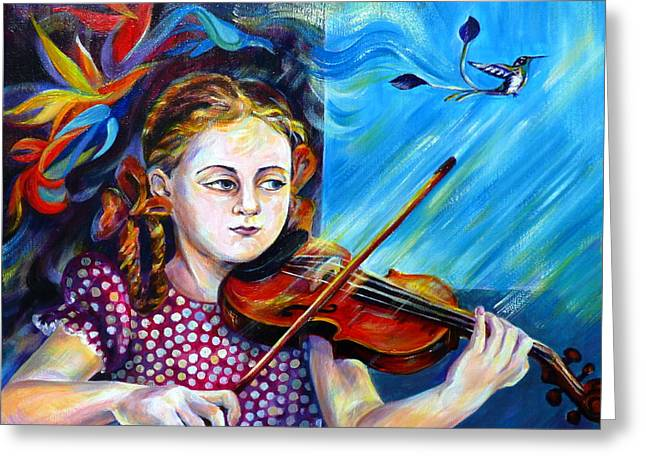 Lessons Greeting Cards - Music Lessons Greeting Card by Anna  Duyunova