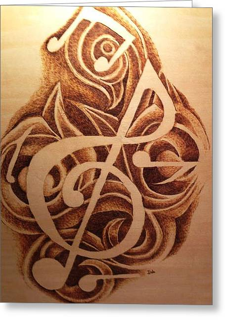 Sheet Music Pyrography Greeting Cards - Music Love Greeting Card by Dale Bradley