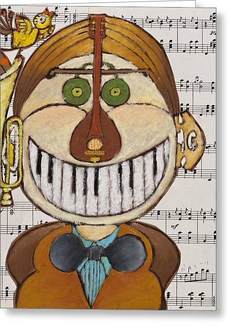 Scores Drawings Greeting Cards - Music Man Greeting Card by Semiramis Paterno