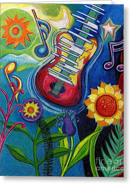 Stretching Drawings Greeting Cards - Music On Flowers Greeting Card by Genevieve Esson